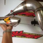 Knalpot Suzuki TS125 dengan perut/gembung galvanis non croem slencer kompetisi